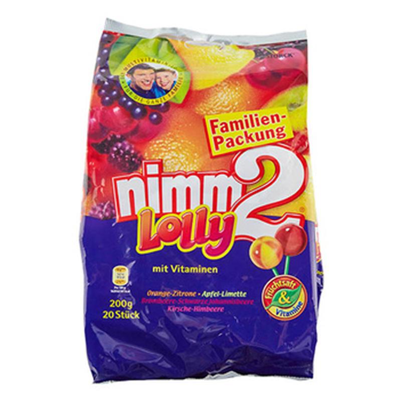德国进口nimm2二宝棒棒糖200g 4种口味20支维生素水果糖零食糖果网红商品