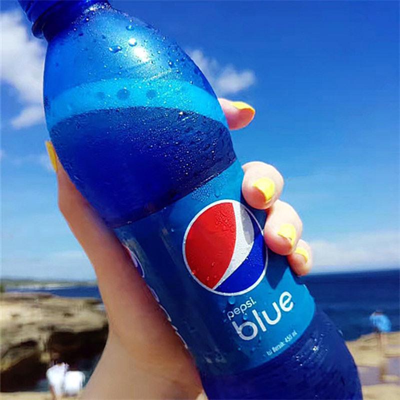 网红巴厘岛进口梅子味网红碳酸饮料Pepsi/百事蓝色可乐450ml网红商品